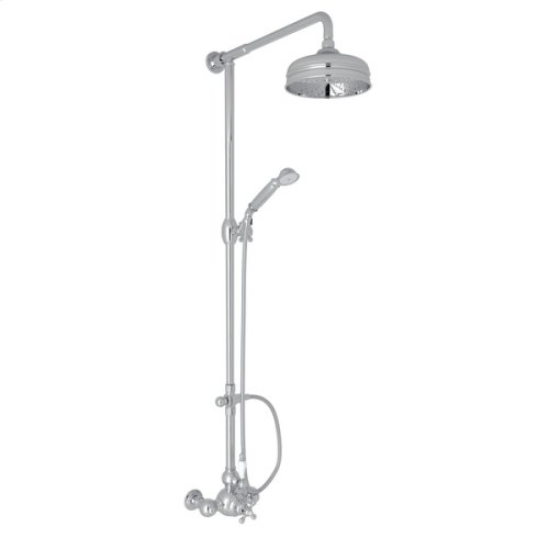 Polished Chrome Arcana Exposed Wall Mount Thermostatic Shower With Volume Control with Arcana Series Only Ornate White Porcelain Lever