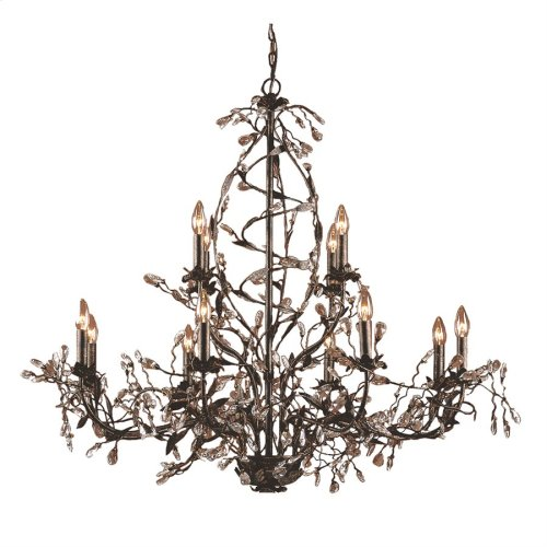 Circeo 12-Light Chandelier in Deep Rust with Crystal