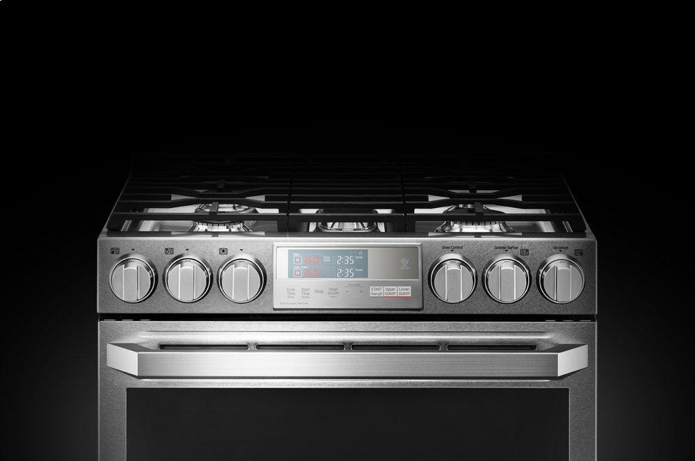 LG SIGNATURE 6.9 cu.ft. Smart wi-fi Enabled Gas Double Oven Slide-In Range with ProBake Convection(R)  TEXTURED STEEL