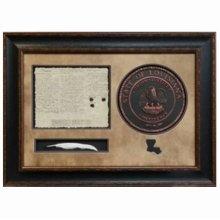 Shadow Box w'Louisiana Purchase Seal & Quill