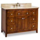 "48"" vanity with chocolate finish and a clean shaker design with preassembled top and bowl."