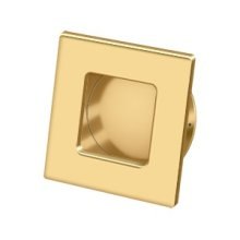 "Flush Pull, Square, HD, 2-3/4""x 2-3/4"", Solid Brass - PVD Polished Brass"
