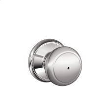 Andover Knob Bed & Bath Lock - Bright Chrome