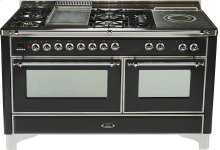 Gloss Black with Chrome trim - Majestic 60-inch Range with Griddle + French Cooktop