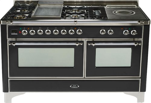 Gloss Black with Chrome trim - Majestic 60-inch Range with French Cooktop