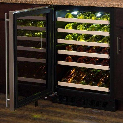 "Marvel 24"" High Efficiency Single Zone Wine Refrigerator - Black Frame Glass Door - Right Hinge, Stainless Designer Handle"