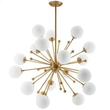 Constellation White Glass and Brass Pendant Chandelier