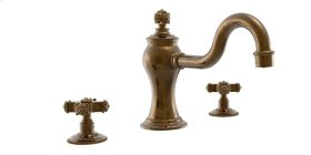 Deck Tub Set Cross Handles - Polished Brass Antiqued