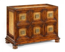 Distressed Walnut Six Drawer Chest with Square Brass Handles