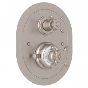 Satin Nickel Perrin & Rowe Edwardian Era Oval Thermostatic Trim Plate With Volume Control with Edwardian Cross Handle