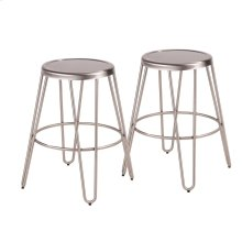 Avery Metal Counter Stool - Set Of 2 - Brushed Stainless Steel