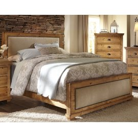 King Distressed Pine Upholstered Bed
