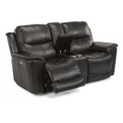 Cade Leather Power Reclining Loveseat with Console and Power Headrests Product Image