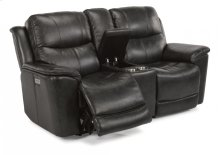 Cade Leather Power Reclining Loveseat with Console and Power Headrests
