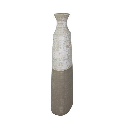 "Ceramic 17.25"" Tribal Vase, Beige"