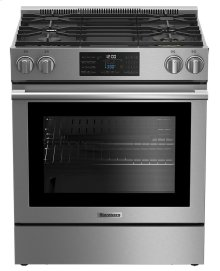 "30"" electric stainless range with 5.7 cu ft self clean oven, 4 burner"