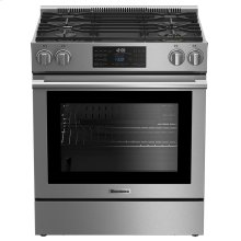 "30"" gas stainless range with 5.7 cu ft self clean oven, 4 burner"