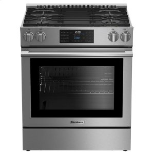 "Blomberg30"" gas stainless range with 5.7 cu ft self clean oven, 4 burner"