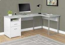 "COMPUTER DESK - 80""L WHITE / CEMENT-LOOK LEFT/RIGHT FACE"