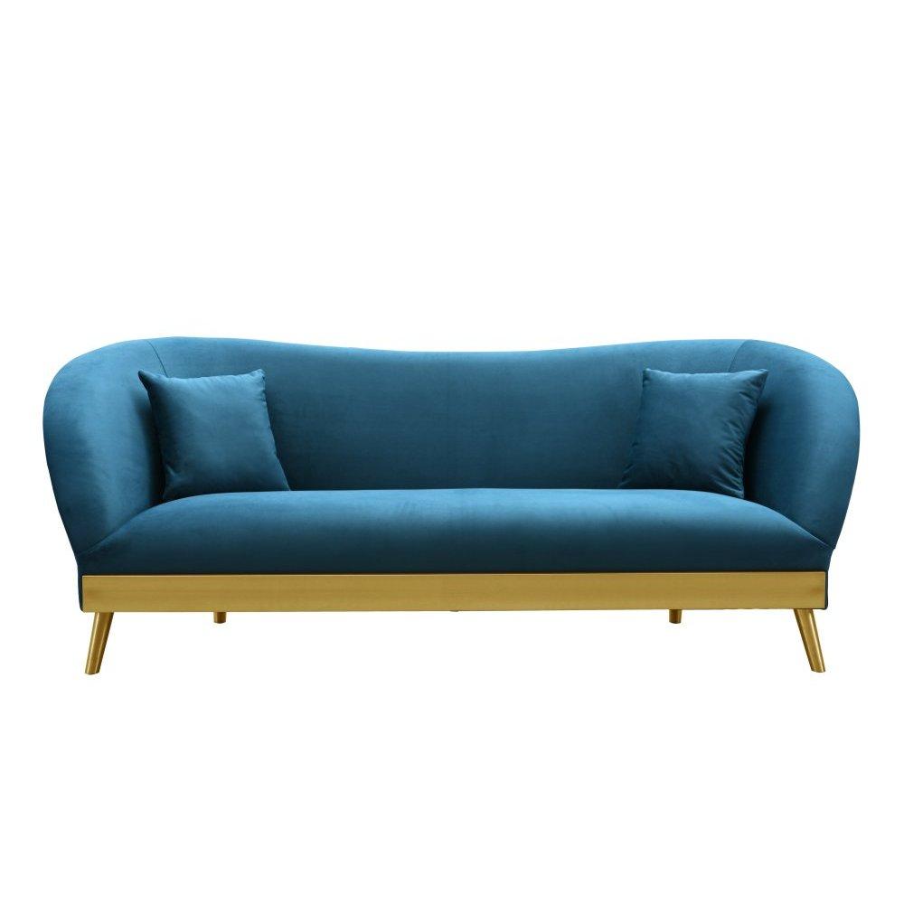 Chloe Spotted Blue Velvet Sofa