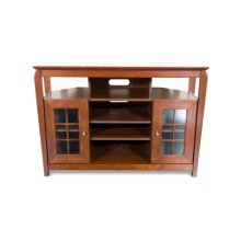 """46"""" Wide Hi Boy Credenza, Solid Wood and Veneer In A Walnut Finish, Accommodates Most 52"""" and Smaller Flat Panels"""