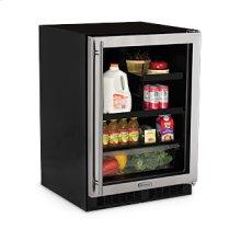 """Marvel 24"""" Beverage Refrigerator with Drawer - Stainless Frame Glass Door - Left Hinge"""