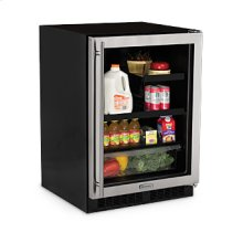 "Marvel 24"" Beverage Refrigerator with Drawer - Black Frame Glass Door - Left Hinge"