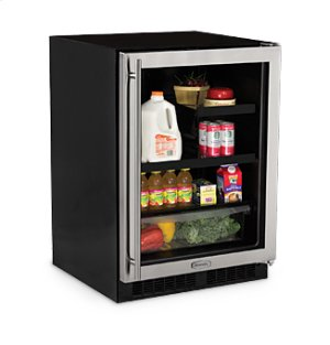"""Marvel 24"""" Beverage Refrigerator with Drawer - Stainless Frame Glass Door - Right Hinge"""