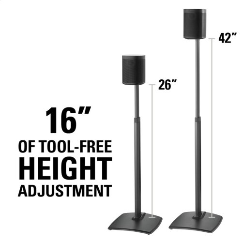 Black Adjustable Height Wireless Speaker Stands designed for SONOS ONE, Play:1, and Play:3