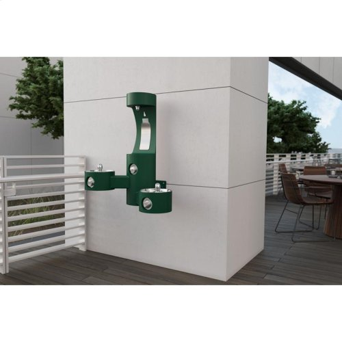 Elkay Outdoor EZH2O Bottle Filling Station Wall Mount, Bi-Level, Non-Filtered Non-Refrigerated, Evergreen