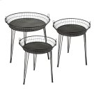 3 pc. set. Distressed Black Round Basket Side Table. (3 pc. set) Product Image