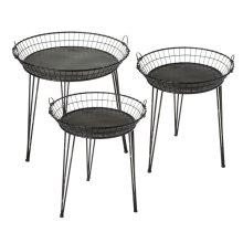 3 pc. set. Distressed Black Round Basket Side Table. (3 pc. set)