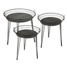 3 pc. set. Distressed Black Round Basket Side Table. (3 pc. set)