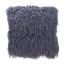 Lamb Fur Pillow Large Grey Blue