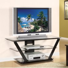 """Matte Black"" 42"" TV Stand with Clear Glass"