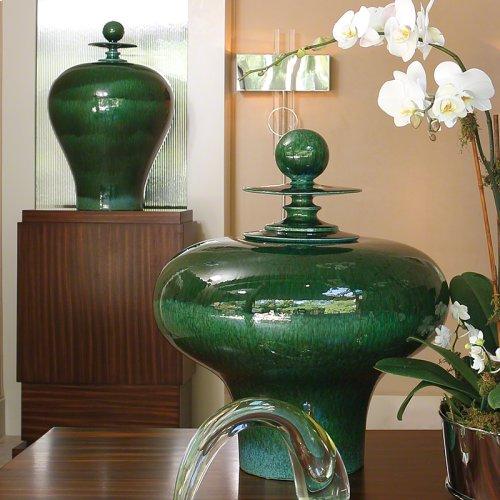 Happy Temple Jar-Emerald-Tall