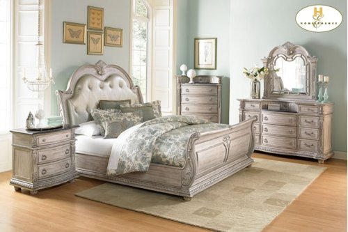 King Sleigh Bed with dresser,mirror,night stand