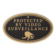 Surveillance Camera Oval Wall/Lawn Statement Plaque - Black/Gold