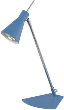 LED Desk Lamp, Chrome/blue, Gu-10 LED Type Bulb 3wx1