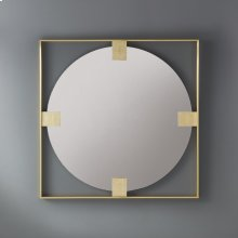 Square Paolo Mirror, Polished Brass With Gold Leaf Detail. Clean Mirror.
