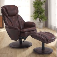 Whisky (Brown) Breathable Air Leather with Alpine (Black) Finish - 360 Degree Swivel - Adjustable Recline - Lumbar Support - Angled Ottoman - Durable Breathable Air Leather Cover