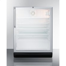 """Commercially Listed 5.5 CU.FT. Built-in Undercounter Beverage Center In A 24"""" Footprint, With Stainless Steel Wrapped Cabinet, Glass Door, Towel Bar Handle, and Lock"""