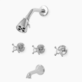 1500 Series Three Valve Tub and Shower Set with Sussex Handle (available as trim only P/N: 1.157833T)