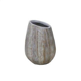 """Asymmetric Antique White Vase, 11"""""""