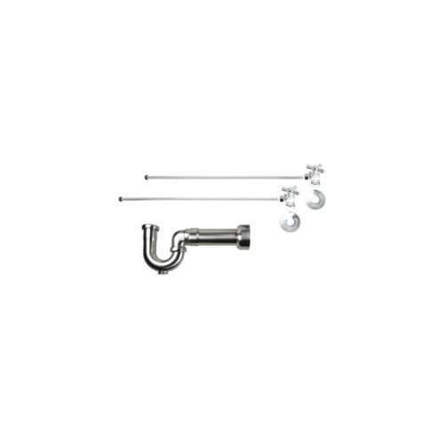 "Lavatory Supply Kit w/ Massachusetts P-Trap - Angle - Mini Cross Handle - 1/2"" Compression (5/8"" O.D.) Inlet x 3/8"" O.D. Compression Outlet - Satin Chrome"