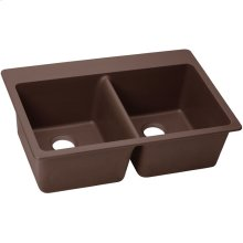 "Elkay Quartz Classic 33"" x 22"" x 9-1/2"", Equal Double Bowl Drop-in Sink, Pecan"