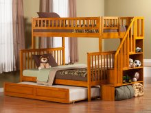 Woodland Staircase Bunk Bed Twin over Full with Raised Panel Trundle Bed in Caramel Latte