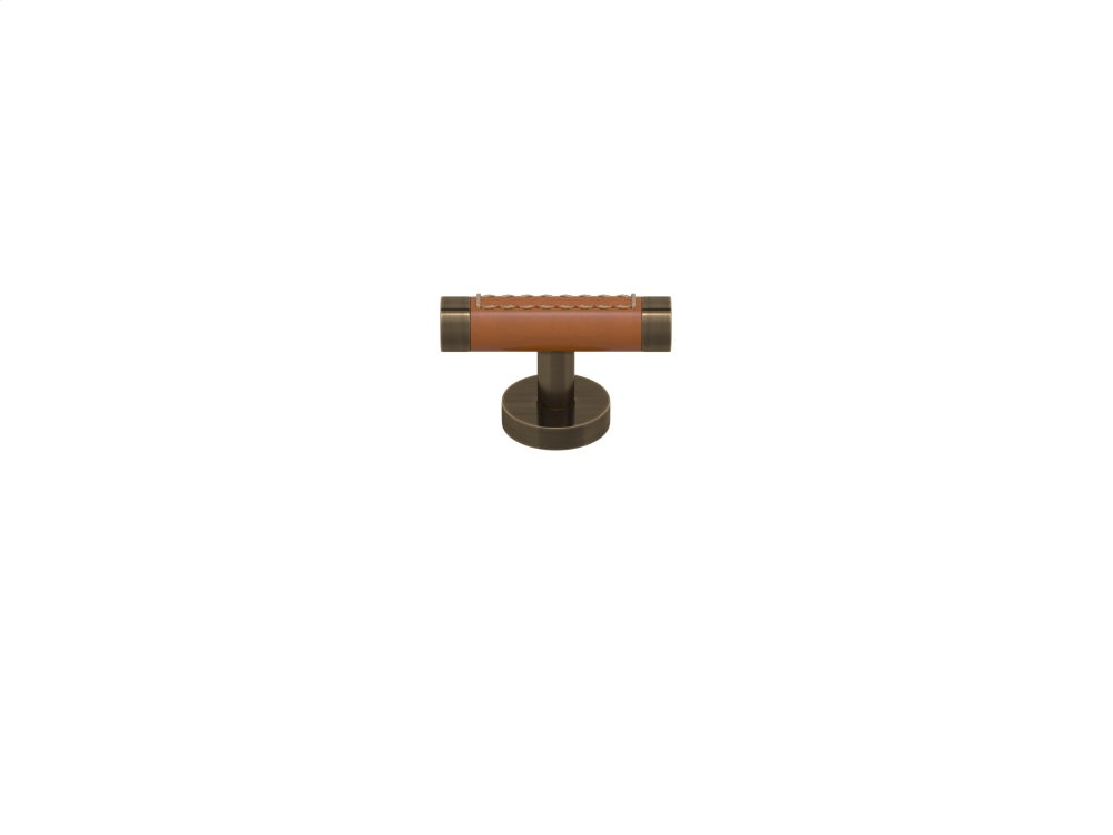 Barrel Stitch Out Cabinet T-bar Turning Recess Leather In Tan And Fine Antique Brass