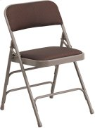 HERCULES Series Curved Triple Braced & Double Hinged Brown Patterned Fabric Metal Folding Chair Product Image