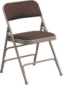 HERCULES Series Curved Triple Braced & Double-Hinged Brown Patterned Fabric Metal Folding Chair